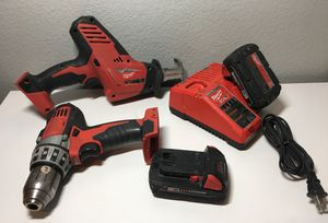 Milwaukee 18-Volt Driver Drill 2601-20 Hackzall SawSall 2625-20 M12 M18 CHARGER 18v power tools set for Sale in Boise, ID