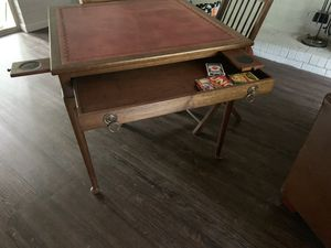 Antique leather top card table for Sale in Cary, NC