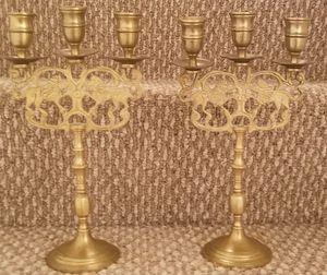 2 vintage brass candelabra candlestick 3 candle holder lions for Sale in Woodbridge, VA
