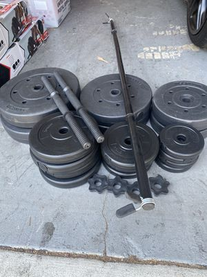 Dumbbells with barbell and 140lbs of weights for Sale in Santa Ana, CA