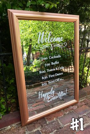 Rose Gold Mirror Welcome Events Wedding Sign for Sale in Washington, DC