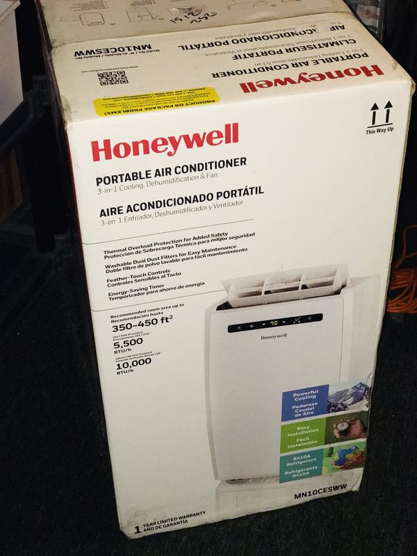 Honeywell MN10CESWW Portable Air Conditioner, 10,000 BTU Cooling, With Dehumidifier & Fan (White)