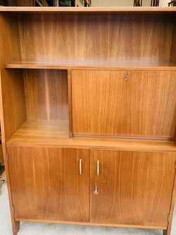 Beautiful Mid Century Modern Jugoexpot Scandinavian Style Walnut Cabinet Fold Down Desk for Sale in Mukilteo,  WA
