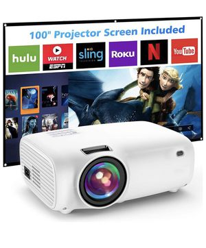 """5500Lumx Outdoor Movie Projector with 100Inch Projector Screen ,1080P and 200"""" Supported Video Projector, Compatible with TV Stick, HDMI, AV, VGA, PS for Sale in Corona, CA"""