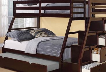 Twin over full size bunk bed frame new in the box with the mattresses and free shipping for Sale in Hialeah,  FL