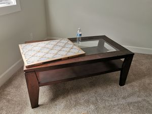 solid wood coffee table with glass for Sale in Issaquah, WA