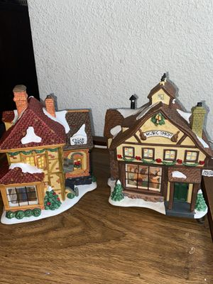 Christmas Town Light-Up Home Decorations (Music Shop and Cigar Shop) for Sale in Chesapeake, VA