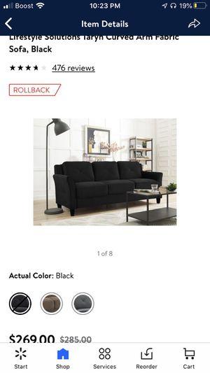 Black lifestyle solutions curve arm sofa for Sale in Lorton, VA