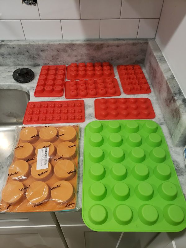 9 silicone moulds for baking, candy or soap making