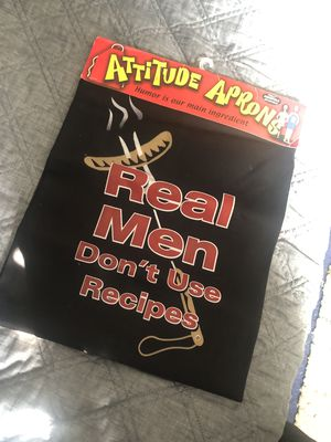 brand new with tags attitude apron real men don't use recipes for Sale in Montclair, CA