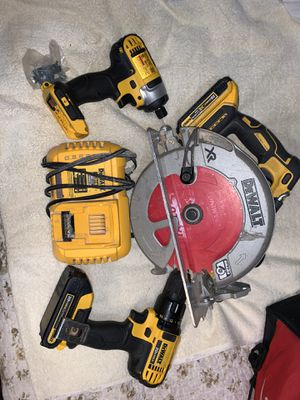 "Dewalt 20v tools 7 1/4"" circular saw drill and hex impact for Sale in Tacoma, WA"