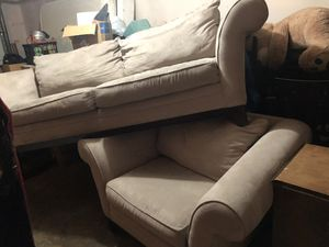 Ligne designer miscrofiber couch n oversized chair matching set-very comfy!Delivery avail low fee for Sale in Tualatin, OR