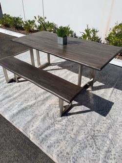 Grey wash live edge dining table and bench for Sale in San Diego,  CA
