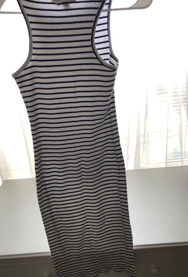 Striped navy blue and white dress size M