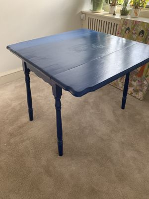Blue dining room / kitchen table 36x36, adjustable, seats 4 for Sale in Philadelphia, PA