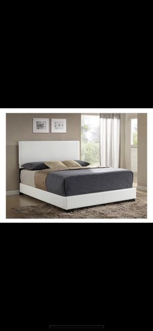 Queen White Faux Leather Bed Frame for Sale in Hanover, MD