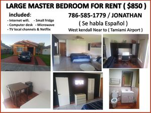 LARGE MASTER BEDROOM ( WEST KENDALL ) ( $850 ) for Sale in Miami, FL