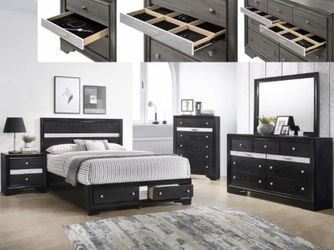 Black or grey Queen bed, dresser, mirror and 1 night stand for Sale in Federal Way,  WA