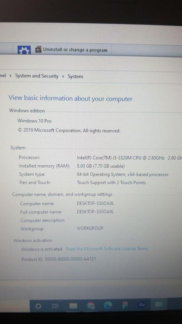 Thinkpad lenovo T430s, Intel Core i5V pro, 2.6Hhz, 8GB RAM, 256 SSD $250.00
