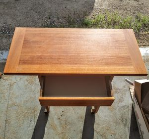 Small teek wood table with drawer for Sale in Menahga, MN