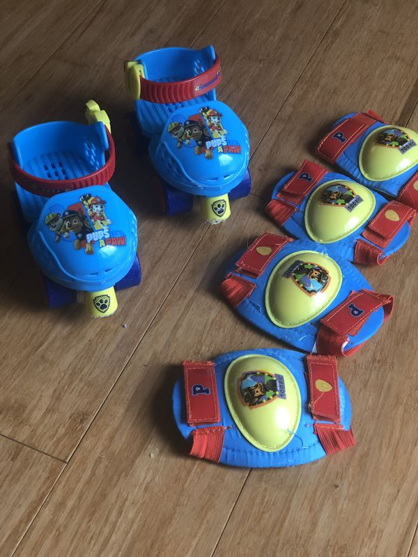Paw Patrol roller skates with knee and elbow pads