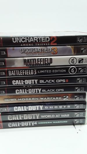 10 playstation 3 games, call of Duty, Battlefield, and Unchartered for Sale in Greensboro, NC