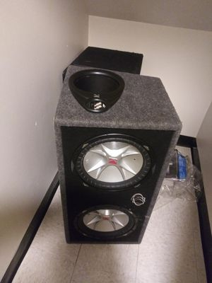 12 inch kicker subwoofers in ported box with amp for Sale in Baltimore, MD