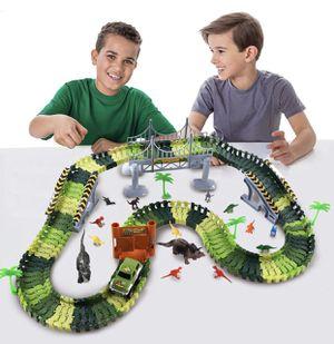 NEW Race Track Dinosaur Toys 165PCS Create A Dinosaur World Flexible Track Playset fo Kids Party for Sale in San Dimas, CA