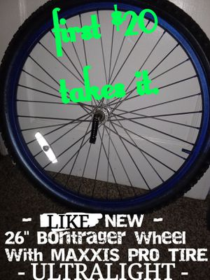 """First $20 takes it!!-In North Park-98% TREAD-LIKE NEW -1- 26"""" Bontrager Rim with MAXXIS PRO TIRE. Best offer or Trade takes it. for Sale in San Diego, CA"""