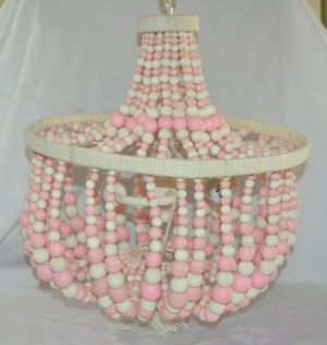 Pottery Barn Kids Pink Dahlia Chandelier Light Fixture Hanging Ceiling Wood Bead for Sale in Canyon Lake, CA