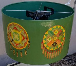 """Handcrafted lampshade with laminated """"Lakota Sioux"""" dream catcher prints. 10""""x 15"""", excellent condition. for Sale in Long Beach, CA"""