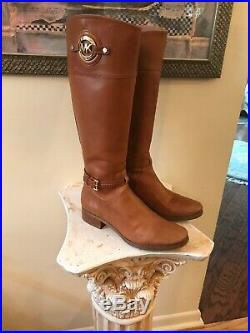 MICHAEL KORS LOGO BROWN LEATHER RIDING BOOTS for Sale in Bayport, NY
