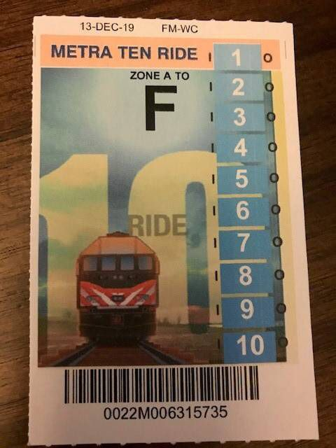 Metra 10 ride pass (9 available)