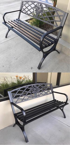 New in box $70 each 500 lbs weight capacity 50x24x34 inches tall outdoor patio garden steel bench chair for Sale in Whittier, CA