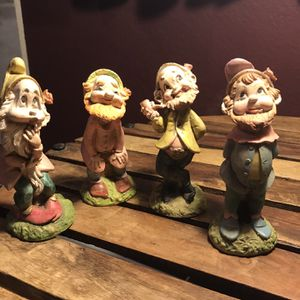 Set Of Four Small 3 Inch Gnomes/dwarfs Decor Garden for Sale in Bakersfield, CA