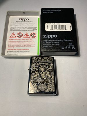 Harley Davidson zippo lighter chrome with skull for Sale in Barnegat Township, NJ