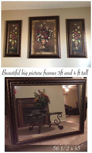 Beautiful mirror with matching large wall frames and pictures frames I'll have the matching pattern design brown and gold $600 firm for Sale in Laveen Village, AZ
