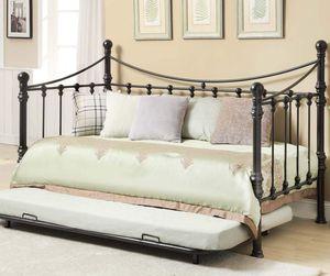Black metal day/trundle bed- gel memory foam mattress included for Sale in West Monroe, LA