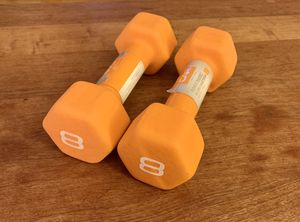 *NEW* x2 CAP Barbell Neoprene Coated Dumbbell Weights 8lb Pound Orange Set for Sale in Washington, DC