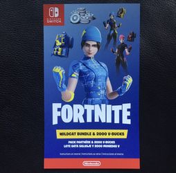 Fortnite Wildcat Bundle & 2000 V-bucks redemption code. Price is Firm. for Sale in Tigard,  OR