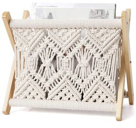 Macrame Magazine Rack Small Boho Magazine Holder Storage Standing Basket for Books, Newspapers, Notebook, Swaddle Blanket, Living Room, Bathroom for Sale in Roseville, MI