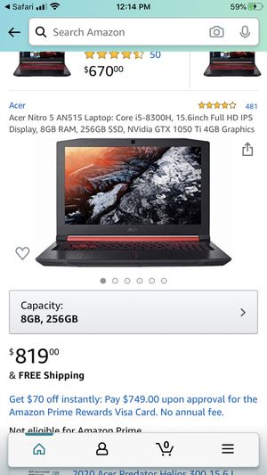 Acer Nitro 5 Gaming Laptop - NVIDIA GeForce GTX 1050 Ti for Sale in Pasadena, CA