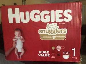 Huggies little snugglers size 1 (168 DIAPERS)- -$30 FOR ALL !! for Sale in Riverdale, GA