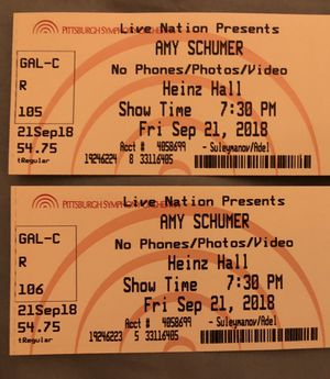 Amy Schumer tickets Sunday 11/18 @ Heinz Hall Pittsburgh for Sale in Pittsburgh, PA