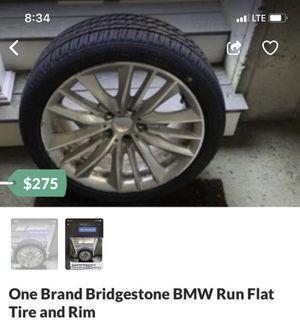 One unused Bridgestone BMW Run Flat Tire and Rim. for Sale in Norwood, MA