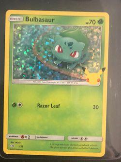 Bulbasaur Pokemon Card 1/25 25th Anniversary for Sale in Fairfax,  VA