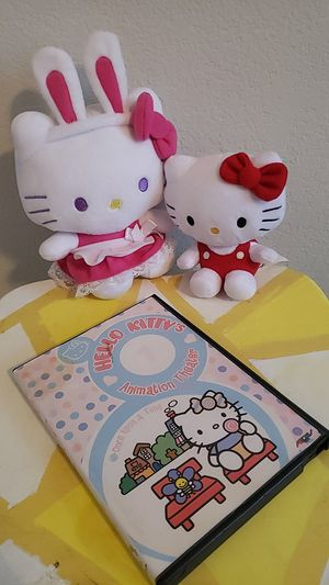 8 classic hello kitty episodes and 2 plushes for Sale in Fort Worth, TX