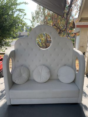 White wedding leather couch for Sale in Bakersfield, CA
