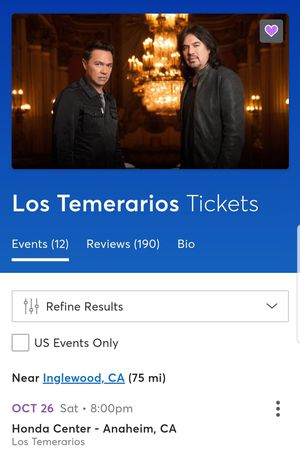 Los Temerarios Concert for Sale in Inglewood, CA