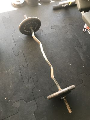 Standard weights (60Lbs) & EZ Curl bar with 2 clips for $50 Firm!!! for Sale in Burbank, CA